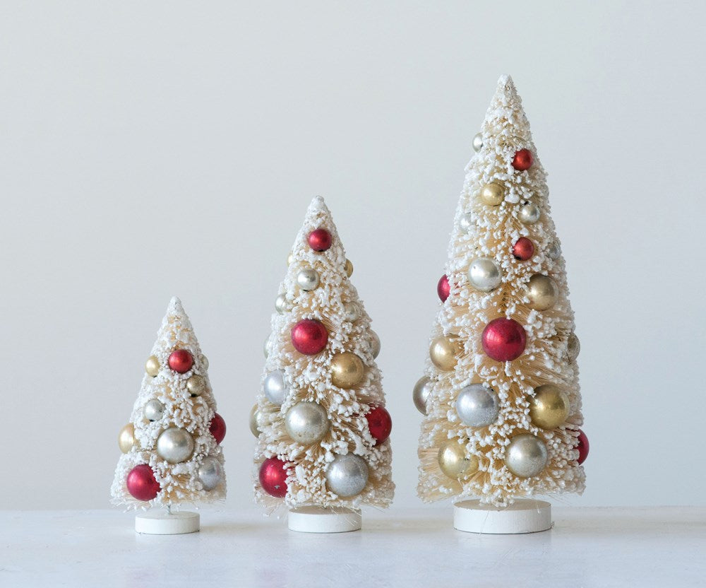BOTTLE BRUSH TREE WITH ORNAMENTS