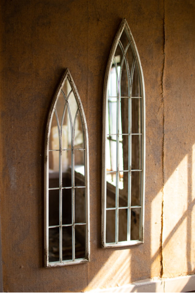 SET OF 2 TALL WOOD & METAL CHURCH MIRROR