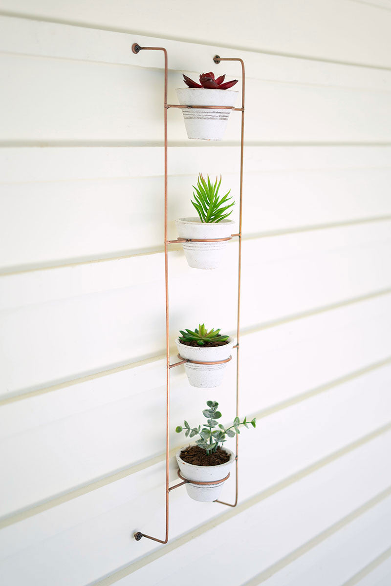 TALL COPPER FINISH WIRE WALL RACK WITH 4 CLAY POTS