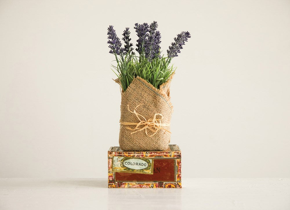 BURLAP WRAPPED ARTIFICIAL LAVENDER PLANT