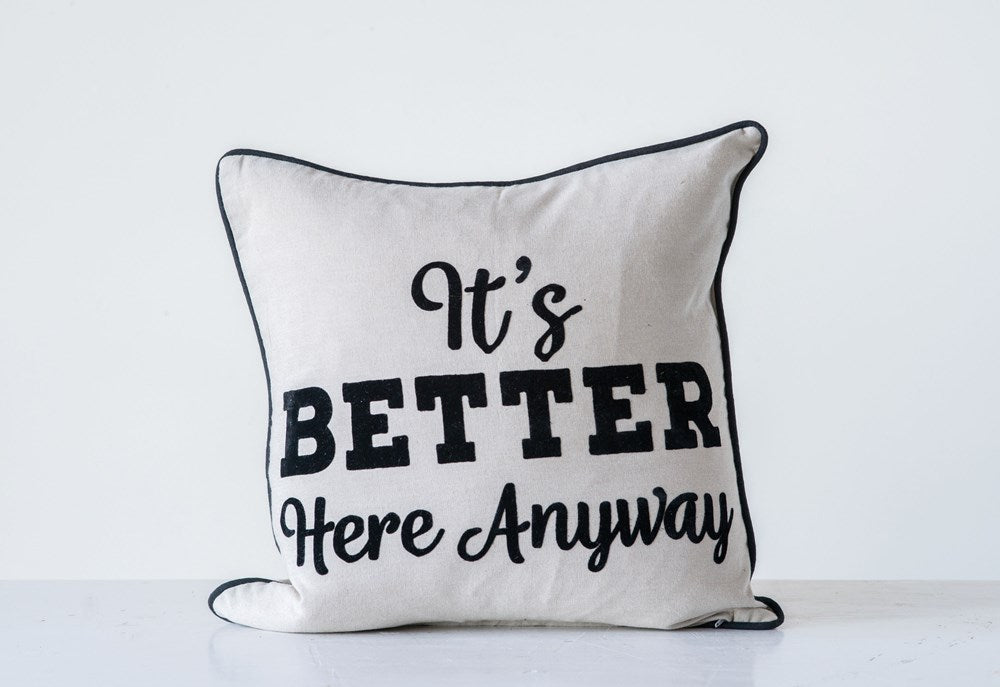 """LET'S STAY HOME"" SQUARE COTTON PILLOW"