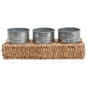 HAND-WOVEN BANKUAN TRAY WITH 3 METAL CONTAINERS