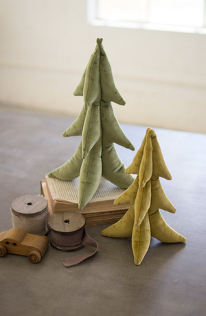 SET OF TWO GOLD AND GREEN VELVET CHRISTMAS TREES