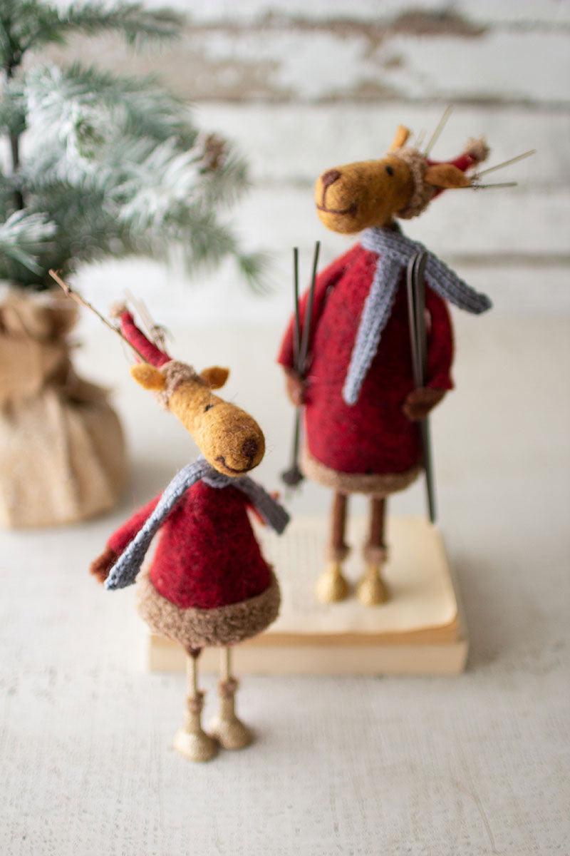 SET OF 2 FELT SANTA DEER