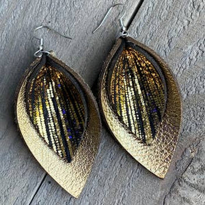 GOLD AND BLACK RAIN DOUBLE LAYERED LEATHER EARRINGS
