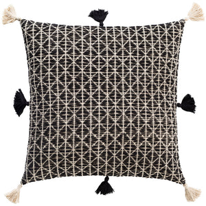 JUSTINE BLACK & IVORY PILLOW WITH TASSELS