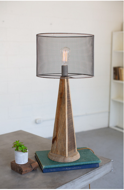 TABLE LAMP WITH MESH SHADE WITH WOODEN BASE - TALL