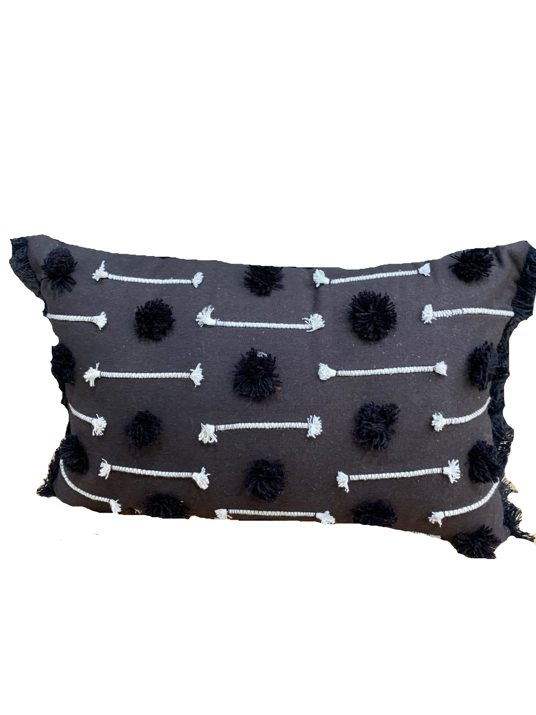 BLACK EMBROIDERED LINE ACCENT PILLOW WITH TUFFS