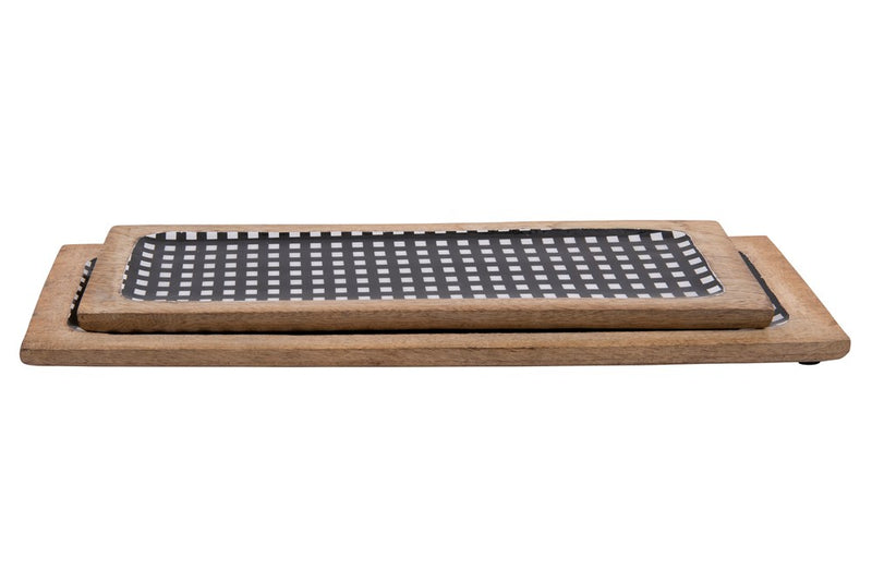 ENAMELED MANGO WOOD TRAY, BLACK GINGHAM