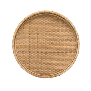 ROUND DECORATIVE WOVEN RATTAN PEDESTAL WITH METAL FEET