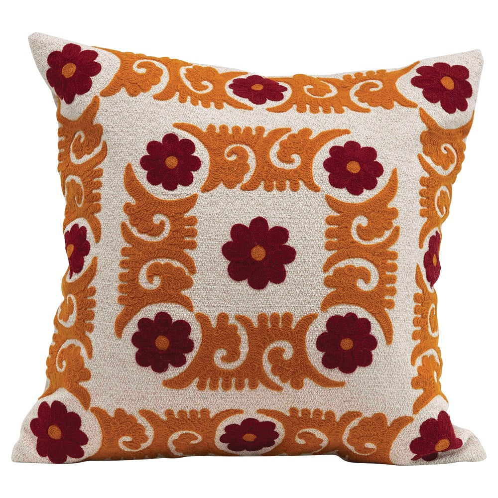 SQUARE SUZANI EMBROIDERED PILLOW - SIENNA & CURRY COLOR
