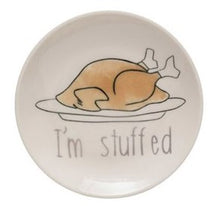 Load image into Gallery viewer, ROUND STONEWARE PLATE WITH THANKSGIVING SAYING