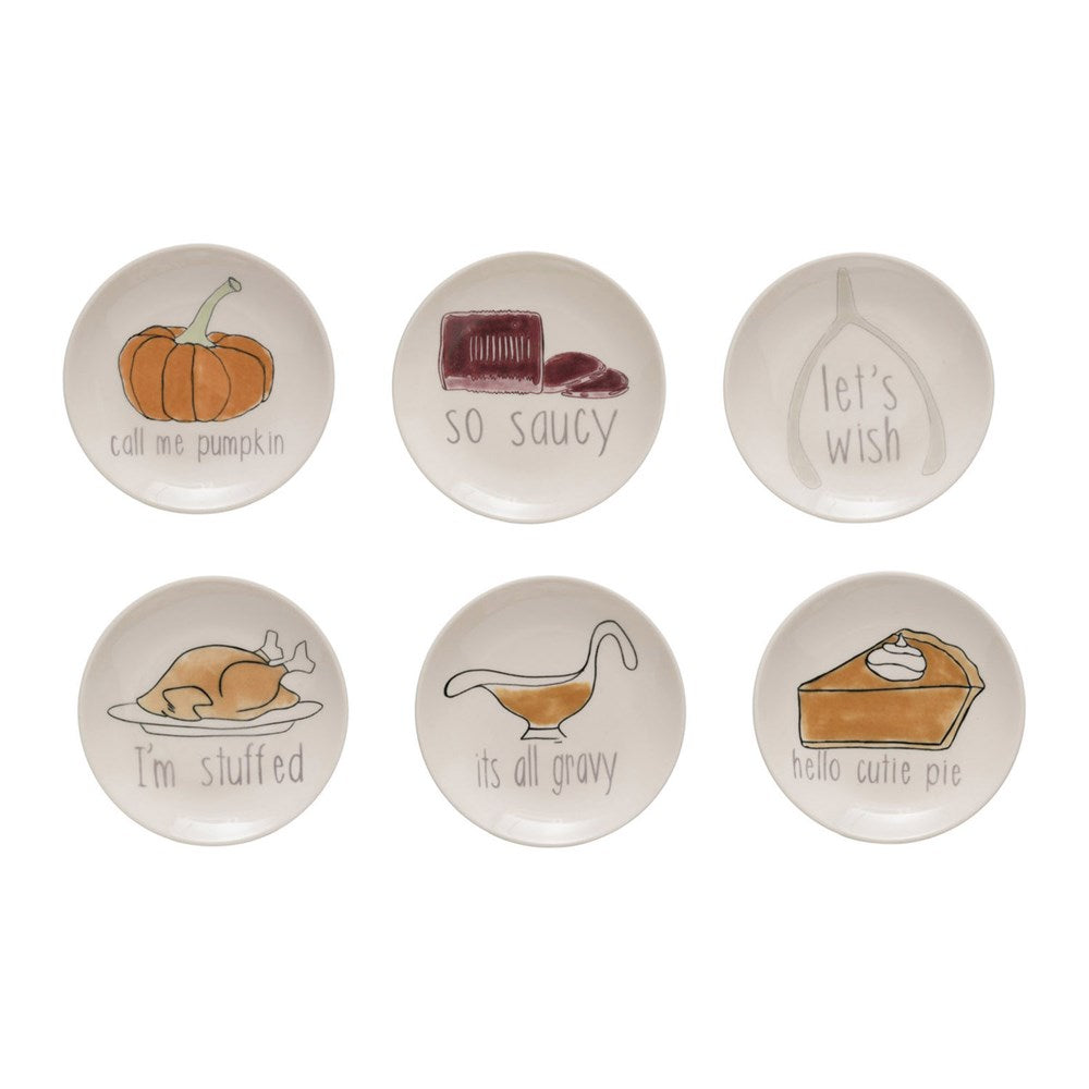 ROUND STONEWARE PLATE WITH THANKSGIVING SAYING