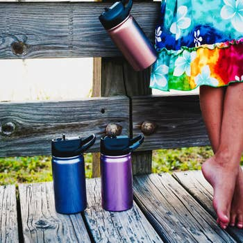 12oz SIC ULTRAVIOLET GLITTER STAINLESS STEEL WATER BOTTLE