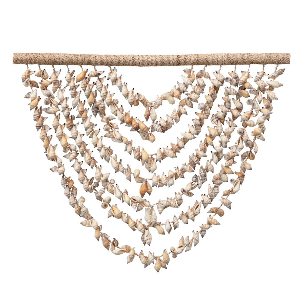 SHELL WALL HANGING WITH WOOD HANGER