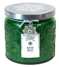 13oz SNOWFLAKE EMBOSSED GLASS JAR CANDLE - WINTER WOODS
