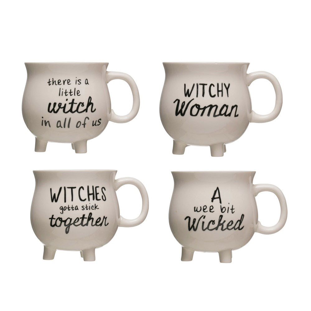 STONEWARE CAULDRON MUG WITH WITCH SAYING