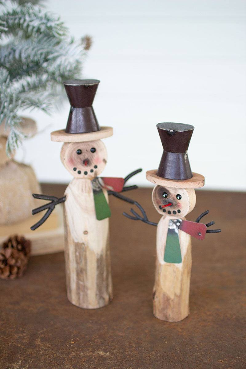 RECYCLED WOOD AND IRON SNOWMAN