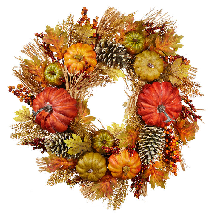 WHEAT AND PUMPKIN WREATH