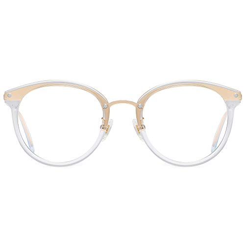 SOJOS Retro Big Round Blue Light Computer Glasses TR90 Eyewear Frame Ashley SJ9001
