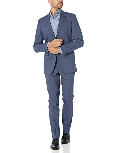 Kenneth Cole New York Men's Travel Ready Finished Bottom Suit, Blue Stripe, 44 Short