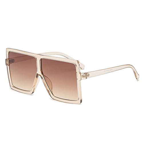 GRFISIA Square Oversized Sunglasses for Women Men Flat Top Fashion Shades