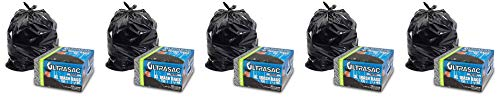 "Heavy Duty 45 Gallon Trash Bags by Ultrasac - (Huge 50 Count/w Ties) - 1.8 MIL - 38"" x 45"""
