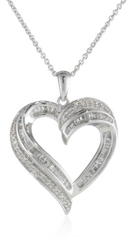 Sterling Silver Diamond Heart Pendant Necklace (1/2 cttw), 18""