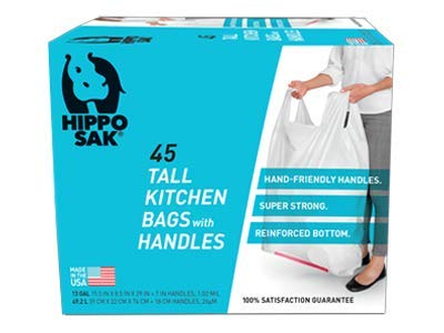 Hippo Sak Tall Kitchen Bags with Handles, 13 Gallon