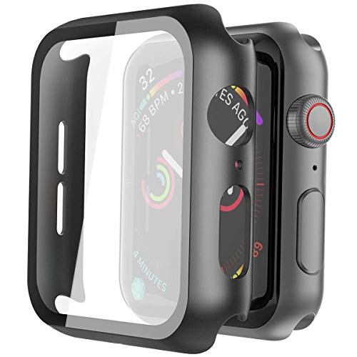 Misxi Hard PC Case with Tempered Glass Screen Protector Compatible with Apple Watch Series 6 SE Series 5 Series 4 44mm - Black