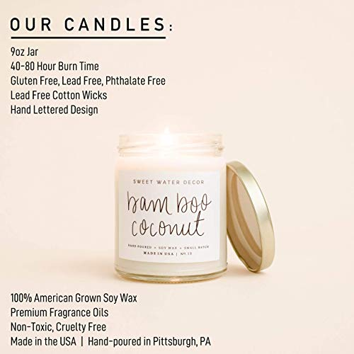 Sweet Water Decor, Boss Lady, Sea Salt, Jasmine, Cream, and Wood Scented Soy Wax Candle for Home | 9oz Clear Glass Jar, 40 Hour Burn Time, Made in the USA