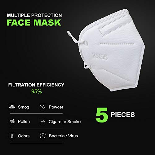 KN95 5-Ply Face Mask with Elastic Ear Loop, Individually packed in Poly bag, Adult, 5 Count