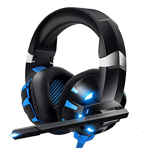 RUNMUS Gaming Headset Xbox One Headset with 7.1 Surround Sound, PS4 Headset with Noise Canceling Mic & LED Light, Compatible with PC, PS4, Xbox One Controller(Adapter Not Included)