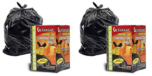 Contractor Bags by UltraSac - 42 Gallon (20 PACK/w FLAP TIES), 2 ft. 9 in. x 3 ft. 9.5 in- 3 MIL Thick Large Black Heavy Duty Industrial Garbage Trashbags for Professional and Commercial