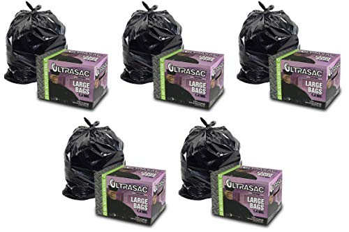 UltraSac 33 Gallon Trash Bags - (Huge 100 Pack/w Ties) - 39' x 33' Heavy Duty Large Professional Quality Black Garbage Bags - Extra Strong Plastic Trashbags for Home, Kitchen, Lawn
