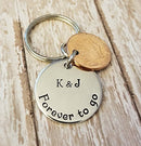 7 Year Anniversary 2014 Lucky Copper Penny with Down and Forever To Go Coin Key Chain