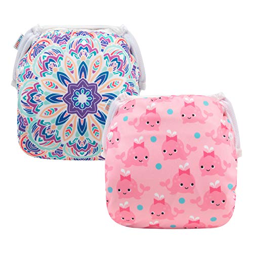 ALVABABY Baby Swim Diapers 2pcs One Size Reuseable Washable & Adjustable for Swimming Lesson & Baby Shower Gifts SWD52-53