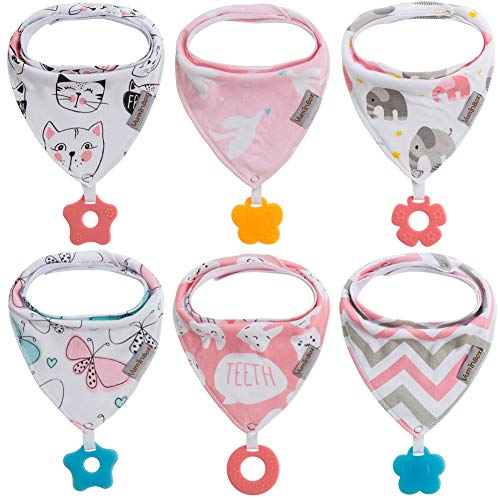 Baby Bandana Drool Bibs 6-Pack and Teething Toys 6-Pack Made with 100% Organic Cotton, Super Absorbent and Soft Unisex (Vuminbox)