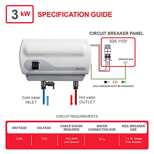Atmor AT-900-03 Single Sink 3kw/110V, 0.5 GPM Point-Of-Use Tankless Electric Water Heater and 0.5 GMP Sink Aerator
