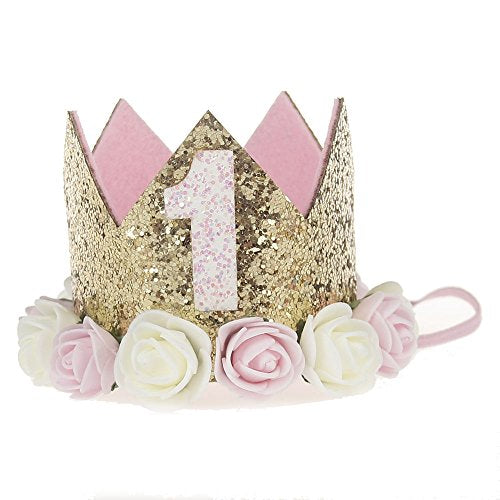 Baby Princess Tiara Crown, Baby Girls/Kids First Birthday Hat Sparkle Gold Flower Style with Artificial Rose Flower