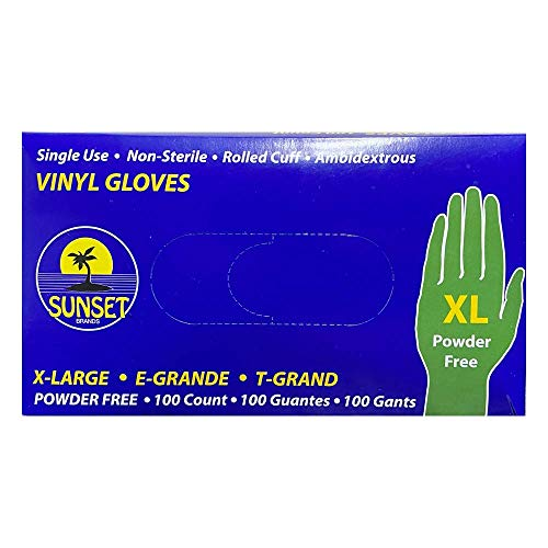 Sunset XL SmoothTouch Disposable Vinyl Gloves - Powder Free - 100 Per-Box X-Large Gloves