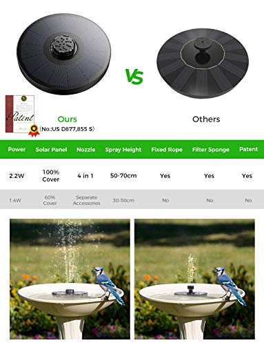 OKMEE Solar Fountain Upgraded 4-in-1 Nozzle, 2W Solar Birdbath Fountain Pump with 4 Water Spray, Solar Powered Water Bubble Fountain for Bird Bath, Pond, Pool, Fish Tank, Aquarium and Garden