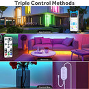 Govee Color Changing 32.8ft LED Strip Lights Bluetooth, App Control, Remote, Control Box LED Music Lights, 7 Scenes Mode Multicolor LED Lights for Bedroom, Room, Kitchen, Party, 2x16.4ft