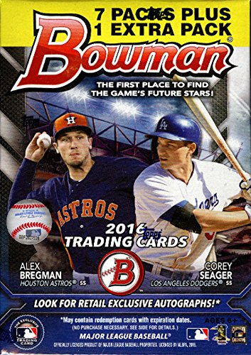 2016 Bowman Baseball Blaster Box with 8 Packs of 10 Cards - LOADED with top rookies plus possible autographs!