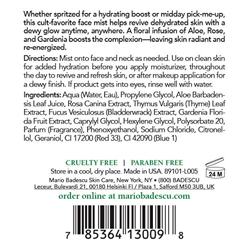 Mario Badescu Facial Spray Herbs/Rosewater and Cucumber/Green Tea, 4 Fl Oz (Pack of 2)