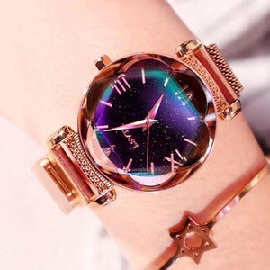 GOLDEN Luxury Women Watches Sky Dial Analog Quartz Watch Sky Watch
