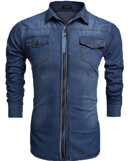 New Branded Zipper Double Pocket Stylish Denim Solid Comfortable Shirts for Men Pack Of 3
