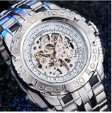 Luxury Silver Gold Automatic Mechanical Watch for Men Full Steel Skeleton Wristwatch Clock Over-sized Big Dial