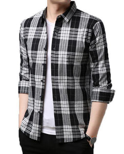 Men's business brand self-repair plaid shirt, fashion designer brand long-sleeve shirt Pack of 3