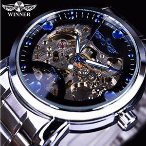 Casual Stainless Steel Black Blue Ocean Skeleton Automatic Watches for Men